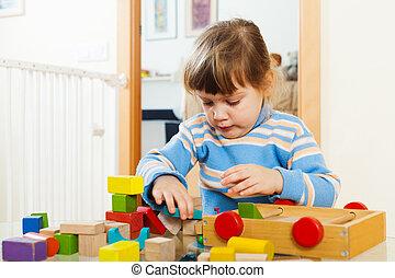 nachdenklich, hölzern, Spielzeuge, Jahre,  3, kind, spielende