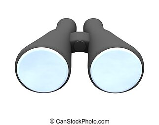 Binoculars isolated on white 3d rendered illustration