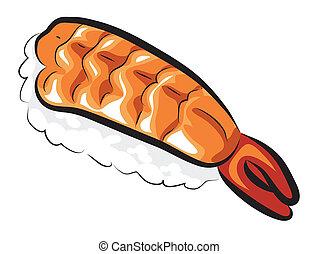 crudo, dulce, camarón, Sushi