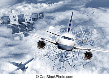International air transportation - Composing illustrates the...