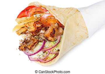 greek gyros stuffed with meat, salad, onion, tomato and...