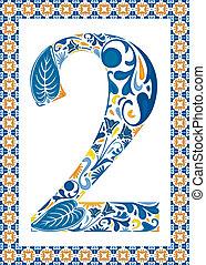 Blue number 2 - Blue floral number 2 in frame made of...