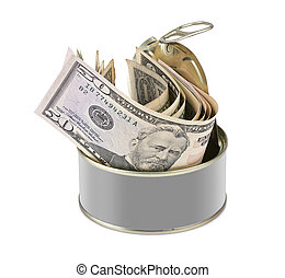 Tin can with US dollars - blank label