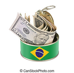 Tin can with US dollars - Brazil flag as label
