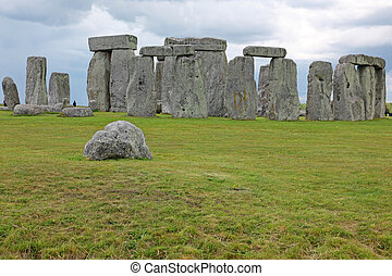 Big old stone at Stonehenge historic site. Stonehenge is a...