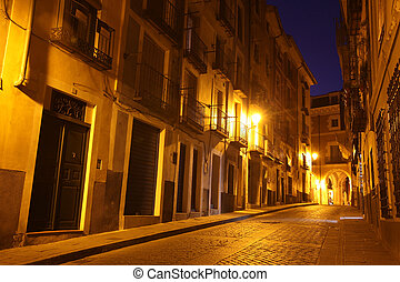 Night view of picturesque old street in Cuenca Spain
