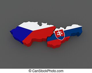 Czech Republic and Slovakia. map. 3d