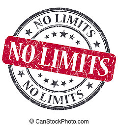 No limits red round grungy stamp isolated on white...
