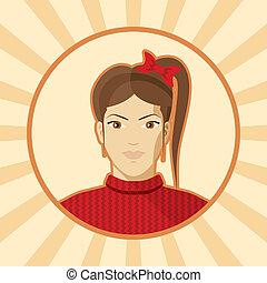 Single woman vector avatar.