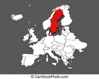 Map of Europe and Sweden.