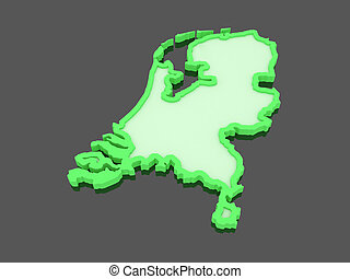 Three-dimensional map of Netherlands. 3d