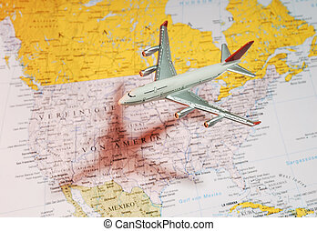 Aircraft over america - Model aircraft over a map of...