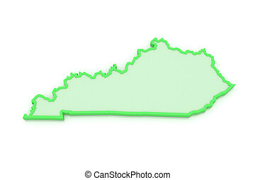 Three-dimensional map of Kentucky. USA. 3d