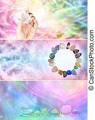 3, X, arco irirs, cristal, curación, sitio web