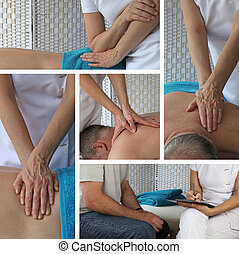 Massage Therapy Collage - Five different angles of a female...