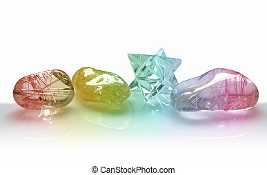 Four Colorful Quartz Crystals - Close up of four colorful...