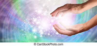 Healers Website Banner - Close up of healing hands cupped...