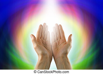 Healing Circle of Light - Healer's hands palm up, against a...