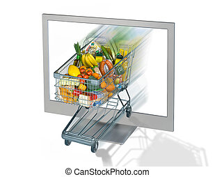 Shopping Cart and Monitor - Shopping Cart with food and...