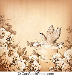Pencil hand drawing bird in bath and pansy flower - Vintage...