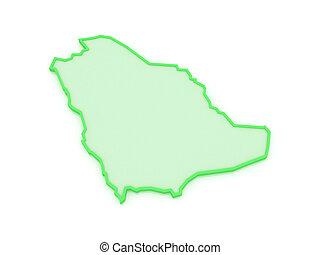 Map of Saudi Arabia. 3d