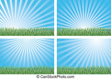 Blue Skies and Green Grass - Illustration of four versions...