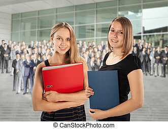 Two young employees