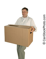 Man carrying moving box - Mature man carries smiling a...