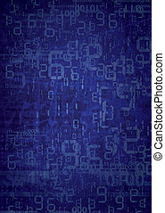 Grunge digital numbers background - Blue random background...