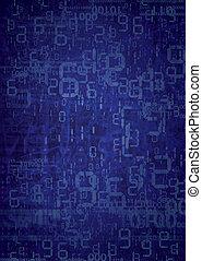 Grunge digital numbers background - Blue random background...