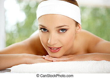 Spa and Wellness Outdoor - Young beautiful and relaxed lady...