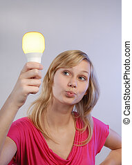 Young woman with Bulb