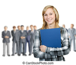 Young woman and business men - Young woman stands in front...