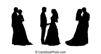bride and groom silhouettes set 1 - black silhouettes of...