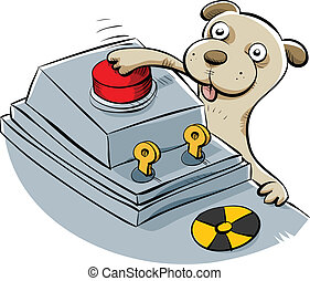 Nuclear Disaster Puppy - A sneaky cartoon puppy pushes the...