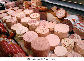 Detail of a meat counter in a supermarket
