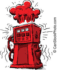 Explosive Pump - Rising prices cause a gas pump to turn red...