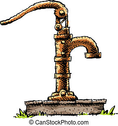 Water Pump - A old-fashioned cartoon water pump on top of a...