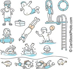 Swimming Pool Fun - Cartoon set of people swimming for...