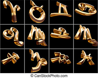 3D Zodiac Sign - 3D Zodiac signs on black background