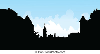 Stratford, Ontario - Skyline silhouette of the town of...