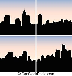 Rustbelt Cities - Collection of skyline silhouettes of the...
