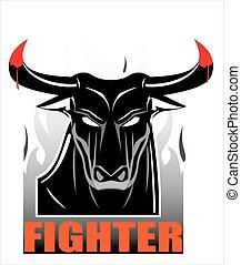 Raging Staring Black Bull - symbolizing the power, fighting...