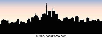 Toronto Silhouette - Skyline silhouette of downtown Toronto,...