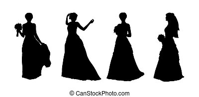 bride silhouettes set 1 - black silhouettes of a young...
