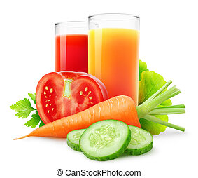 Vegetable juices - Fresh vegetable juices isolated on white