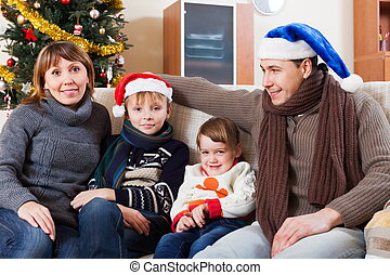 Parents with children at Christmas