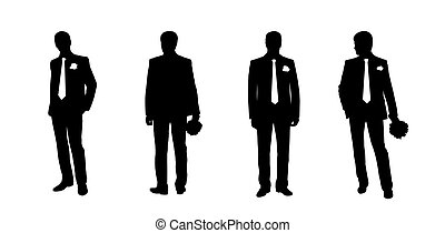 groom silhouettes set 2 - black silhouettes of a groom in...