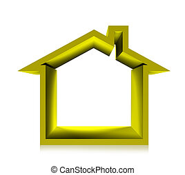 gold house - 3d render gold house on white background