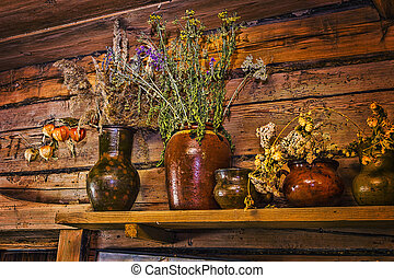 interior of Russian log hut with elements of the old way of...